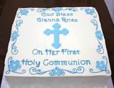 first communion cake ideas Boys First Communion Cakes, Boy Communion Cake, First Communion Party, Boy Baptism, Baptism Ideas, Christening, Religious Cakes, Confirmation Cakes, Cake Quotes