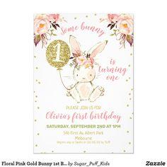 Floral Pink Gold Bunny Birthday Invitation - Gift Idea for Rabbit 1st Birthday Invitations Girl, First Birthday Themes, Baby Girl First Birthday, Baby Shower Invitations, First Birthdays, Birthday Ideas, Birthday Gifts, Glitter Invitations, 16th Birthday