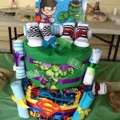 Hulk and Superman diaper cake!