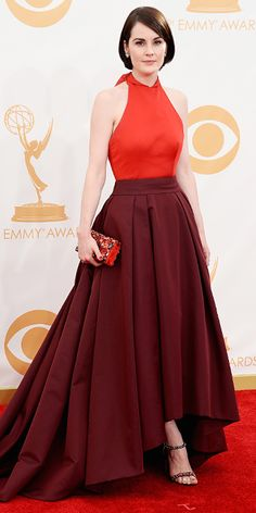 Emmy Awards 2013- Michelle Dockery in a Prada gown and Fred Leighton jewels.