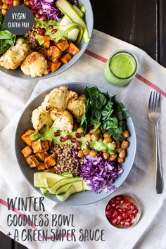 Winter goodness bowl with a green sauce - Lazy Cat Kitchen Winter goodness bowl with a green sauce makes a healthy and filling lunch for busy days as you can prepare individual components in bulk ahead of time. Clean Eating Snacks, Healthy Eating, Healthy Food, Vegan Food, Healthy Lunches, Healthy Cafe, Paleo Vegan, Dinner Healthy, Raw Food