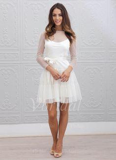 Wedding Dresses - $126.50 - A-Line/Princess Scoop Neck Short/Mini Chiffon Tulle Wedding Dress With Sash Pleated (0025059913)