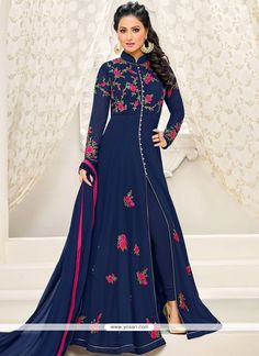 Get this navy blue front slit indo western dress selected by hina khan. This front open salwar suit has full sleeves, floral work, mandarin collar & embroidery. Indian Fashion Dresses, Abaya Fashion, Ethnic Fashion, Patiala Salwar, Anarkali Suits, Bollywood Dress, Bollywood Suits, Suits For Women, Clothes For Women