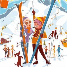 Charlie Adam, Ski Vintage, Vintage Signs, Victor Brauner, Jason Brooks, Ski Posters, Edition Limitée, Flat Design, Bungalow