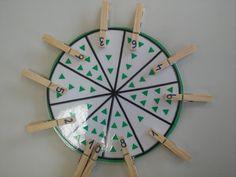 AULA INFANTIL 5 AÑOS C Estos son algunos de los juegos de ABN con los que disfrutamos en nuestra clase… JUEGO DE LAS PERCHAS El juego de... Touch Math, Preschool Math, Business For Kids, Diy For Kids, Activities For Kids, Clock, Busy Bags, Ideas Para, Triangle