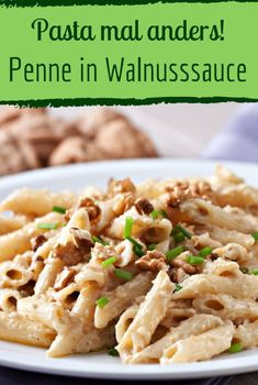Deliciously nutty: Penne in creamy walnut sauce - pasta and walnuts form a . - Deliciously nutty: Penne in creamy walnut sauce – pasta and walnuts make a great tea … – # cr - Veggie Recipes, Pasta Recipes, Crockpot Recipes, Vegetarian Recipes, Dinner Recipes, Healthy Recipes, Beginner Vegetarian, Go Veggie, Veggie Pasta