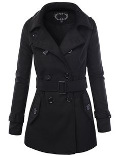 LE3NO Womens Long Button Down Double Breasted Peacoat Jacket With Belt