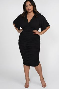 Plus Size Little Black Ruched Dress. Figure-slimming plus size little black dress. Ruched throughout for an ultra-flattering look. Our plus size ruched dress is made to fit a variety of busts with a surplice neckline and flutter sleeves. Plus Size Black Dresses, Plus Size Cocktail Dresses, Plus Size Outfits, Black Dresses Online, Curvy Outfits, Dresser, Date Night Dresses, Party Dresses, Beach Dresses