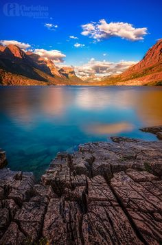 Cracked Earth - St. Mary's Lake, Glacier National Park, Montana