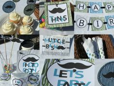 Mustache Party Favors | Mustache Birthday Party Package Decorations with ... | b-day party id ...