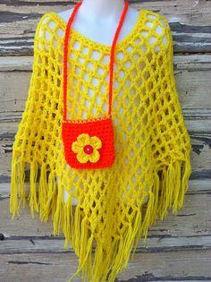 Handmade Little Girls Bright Yellow Crochet Poncho with Matching Crochet Bag by kjbryandesigns Poncho Shawl, Crochet Poncho, Crochet Scarves, Kids Poncho, Crotchet Patterns, Crochet Projects, Crochet Ideas, Knitting Yarn, Little Girls