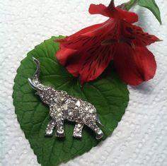 Elephant Brooch White Crystal Rhinestone by PamsPawsJewelry