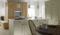 Framed Kitchen in Drawing Room Green and Oak | Wren Kitchens