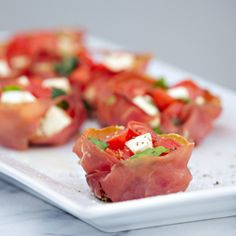 Crispy Proscuitto Cups with Caprese Chopped Salad