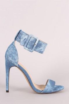 Liliana Denim Ankle Cuff Open Toe Stiletto Heel