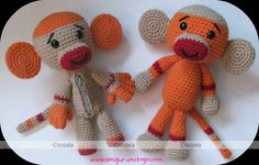 Amigurumi sock monkey with huge ears.  Look at that adorable face! Why not make yourself or someone special one with this free pattern...