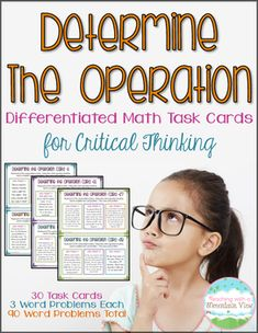 30 differentiated word problem task cards to encourage students to select the appropriate operation for each word problem.  I created these after noticing my students struggling with which operation to choose, especially when given multiple problems from a similar scenario.Each of the 30 cards includes THREE word problems with a similar theme.$