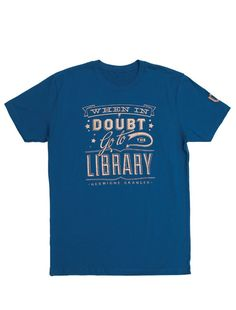 Look what I found from Out of Print! When in Doubt unisex blue library t-shirt – Out of Print #OutofPrintClothing