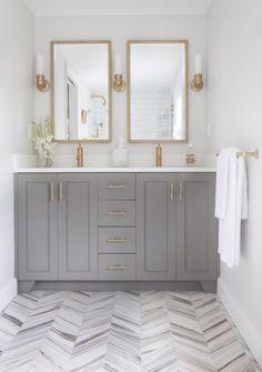 elements of style | Gray Vanity with brass fittings Bad Inspiration, Bathroom Inspiration, Nest Design, House Design, Benjamin Moore Chelsea Gray, Master Suite Addition, Gray Vanity, Wood Vanity, Mirror Vanity
