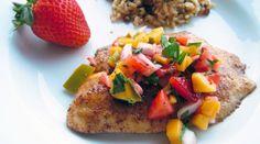 Tilapia with Mango Strawberry Salsa