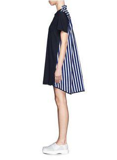 SACAI - Stripe back T-shirt dress | Blue and Green Casual Dresses | Womenswear | Lane Crawford - Shop Designer Brands Online