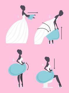 Es ist so schön und doch so unpraktisch: Ein Brautkleid macht die einfachsten Dinge im Leben zum Hindernisparcours. Zum Beispiel auf die Toilette zu gehen.