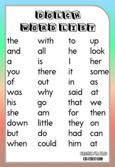 Here are Dolch Word List Chart you can display on your classroom walls for kids to easily remember. Dolch word list include the words the, with, to, up, all, there are many more. Dolch Basic Sight Words, Dolch Sight Word List, Preschool Sight Words, Sight Words List, Sight Word Worksheets, Sight Word Games, Sight Word Activities, Literacy Activities, English Stories For Kids