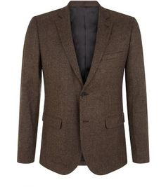 Wear this Brown Textured Blazer over a white shirt and black chinos, to dress up evening styles. #newlook #menswear