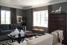 Robbie Lauglin's home in LA, the perfect shade of grey with a touch of white and brown.