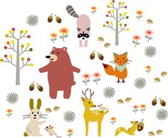 cartoon animal tree set