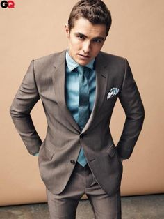 GQ Brown suit with teal blue accents