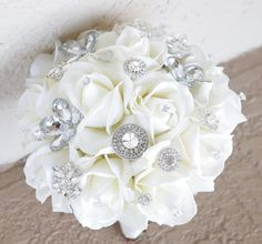 Natural Touch Roses and Brooch Silk Wedding Bouquet. Off White Roses and Bling Accents.