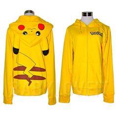 New Japan Pikachu Pokemon Ears Face Tail Zip Costume Hoodie Hoody Sweatshirt P04