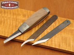 woodcarving knives | Adjustable Knife (with 3 Blades) - Aluminum & Walnut - Made in USA by ...