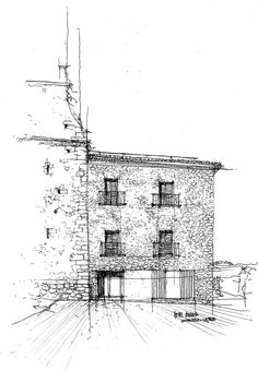 A small rural hotel in a mountain setting in inland Castelló. The hotel is located in the former Abbey house, whose stone façade has been adapted and. Stone Facade, Floor Plans, House, Outdoor, Inspiration, Sketches, Outdoors, Biblical Inspiration, Stone Exterior