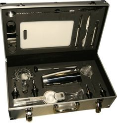 Uber Bar Tools ProBarSet, Version 8 US Jigger by Uber bar tools. $375.00. Complete bar set of essential bar tools. High quality bar tools in a portable case. Sturdy hardwearing aluminum case designed to protect your tools and yet remain light weight for easy transportation. Uber Bar Tools - ProBarSet: Designed as the Total Bar in a Box , the Uber ProBarSet was created to hold the most essential Uber bar tools to assist preparing fantastic cocktails anywhere at any time...
