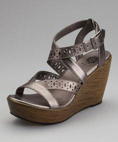 dc098090d1 Take a look at this Pewter Switzerland Wedge Sandal by Yellow Box Shoes on   zulily
