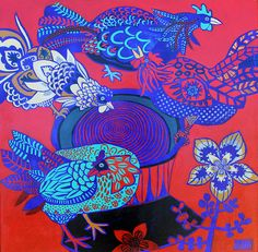 chooks in red and blue | cate edwards