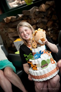 Adorable animal themed diaper cake for baby shower