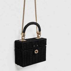 New box braided chain mini handheld oblique span black square bag (Black) Small Luggage, Luggage Sizes, Fabric Textures, Black Square, Box Braids, Louis Vuitton Damier, Straw Bag, Shoulder Bag, Chain