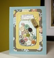 Love the idea of buttons inside the mason jar stamp!