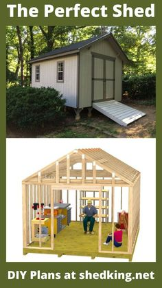 Save money and build your own shed using these backyard shed plans. The gable roof shed design is an easy one to build and this particular shed is a 12'x16' shed that can be used as a work shed, garden shed, he shed, shed studio, lawnmower shed, studio shed, or for just plain storage. The detailed full color shed plans come with building guide, materials list, and email support. And you might just come upon a special sale by visiting the link today. Backyard Storage Sheds, Backyard Sheds, Outdoor Sheds, Shed Storage, Garden Sheds, Shed Building Plans, Diy Shed Plans, Building Ideas, 3d Building Models