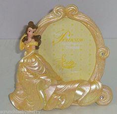Disney World Disneyland Princess Belle Beauty Photo Frame Golden Glitter New
