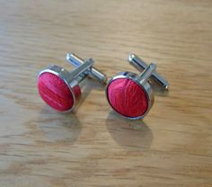 Paisley Silver Plated Cufflinks Red