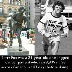 he made it halfway across canada before the cancer took him down. now every year in the 'terry fox marathon of hope' canadians walk to raise money for cancer research. Weird Facts, Fun Facts, Random Facts, Random Stuff, Science Facts, I Am Canadian, Canadian Things, Canadian History, Unbelievable Facts
