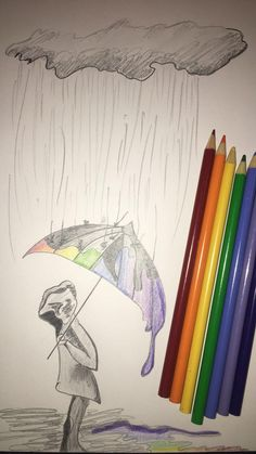 Colored pencils - Washed away happiness