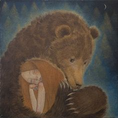 """Limited edition giclée print of original painting by Lucy Campbell - """"Friday's bear"""" by LupiArt on Etsy Bear Illustration, Love Bear, Bear Art, Illustrations, Conte, Spirit Animal, Spirit Bear, Brown Bear, Fine Art Paper"""