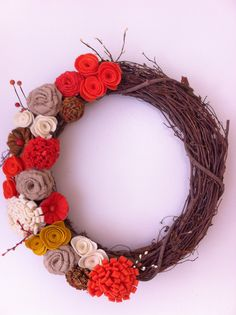 Hello Fall.  First of many Fall wreaths.
