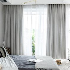 Pack of Tulle Sheer Lace and Blackout Curtain Panel White Double Pleat Drapes for Living Room, Gray, 80 by 95 Inches, 2 Piece Curtains & Drapes Large Window Curtains, Layered Curtains, Curtains With Blinds, Panel Curtains, Curtains And Blinds Together, Double Window Curtains, Sheer Drapes, Living Room Drapes, Bedroom Drapes