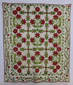 """1860 hand stitched applique quilt """"Peonies"""" pattern, Ohio origin, 92 x 80"""", A-1 Auction, Live Auctioneers"""